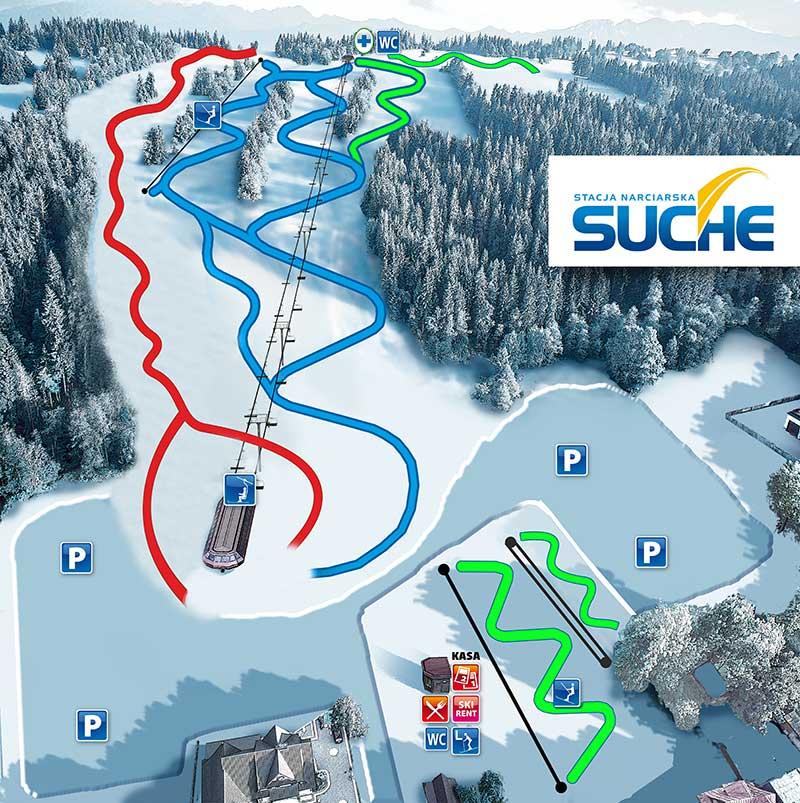 Mapa Tras I Wyciagow Skisuche Skisuche